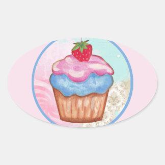 6 Months Cupcake Milestone Oval Sticker