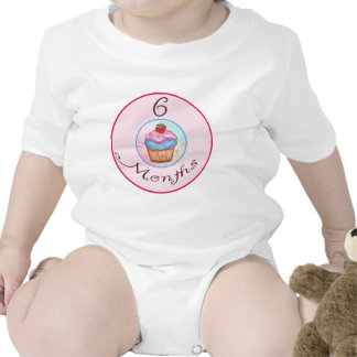 6 Months Cupcake Milestone Romper