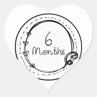 6 Months Doodle Milestone Heart Sticker