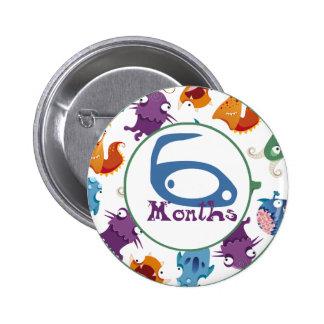 6 Months Monster Milestone Pinback Button