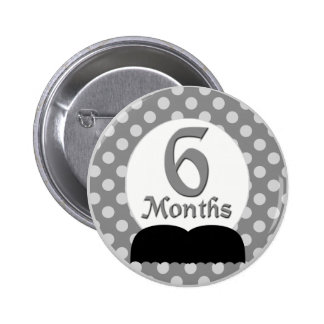 6 Months Mustache Milestone Pinback Buttons