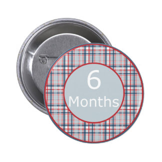 6 Months Plaid Milestone Buttons