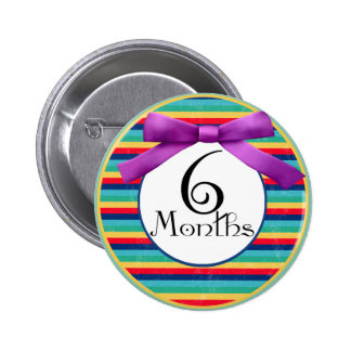 6 Months Rainbow Stripes Milestone Pinback Buttons
