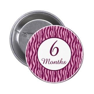6 Months Rocker Girl Milestone Button