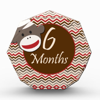 6 Months Sock Monkey Milestone Acrylic Award