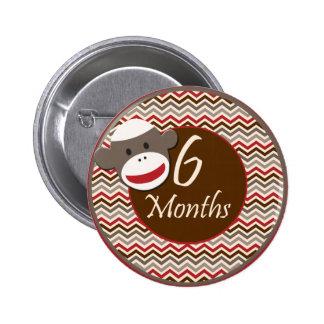 6 Months Sock Monkey Milestone Buttons