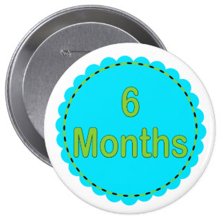 6 Months Teal & Lime Memory Button