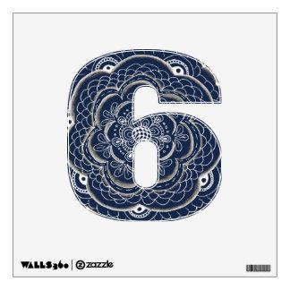 6 número seis en cordón azul y blanco vinilo