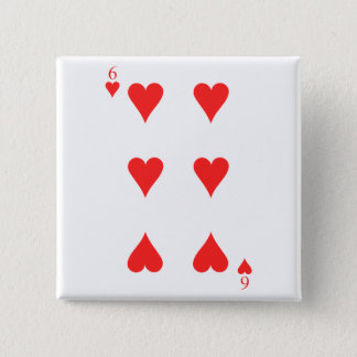 6 of Hearts Pinback Button
