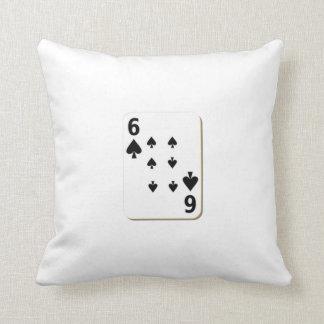 6 of Spades Playing Card Throw Pillow