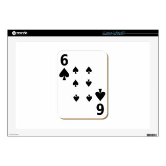 6 of Spades Playing Card Decal For Laptop