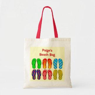 6 Pairs Colorful Beach Flip Flops Shoes Custom Budget Tote Bag