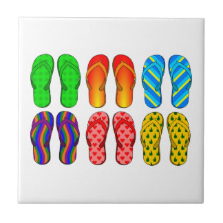 6 Pairs of Summer flipflops Pattern Tile