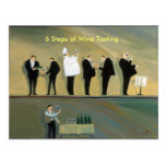 6 pasos de la degustación de vinos tarjetas postales