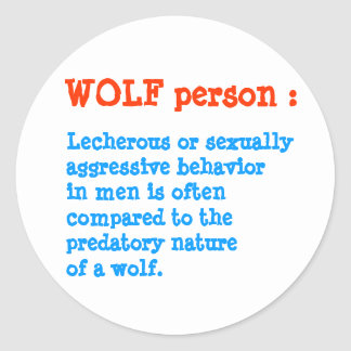 6 per sheet : WOLF personality person Classic Round Sticker