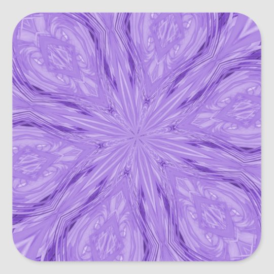 6 Petal Abstract Lavender Square Sticker