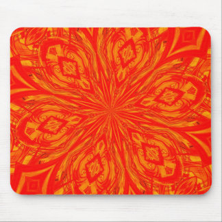 6 Petal Abstract Orange Crush Mouse Pad