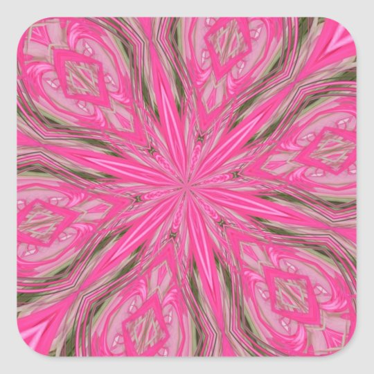 6 Petals Abstract Pink Square Sticker