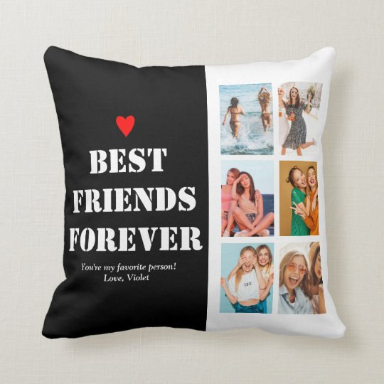 6 Photo Collage BFF Birthday Gifts Unique Cute Throw Pillow