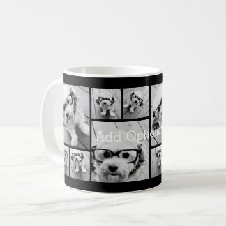 6 Photo Collage Optional Text -- CAN Edit Color Coffee Mug