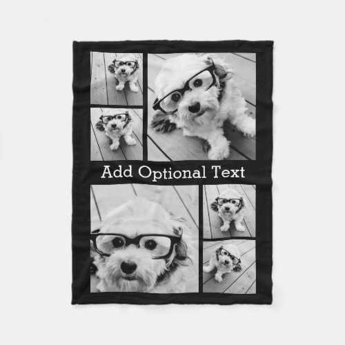 6 Photo Collage Optional Text __ CAN Edit Color Fleece Blanket