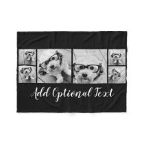 6 Photo Collage Optional Text -- CAN Edit Color Fleece Blanket