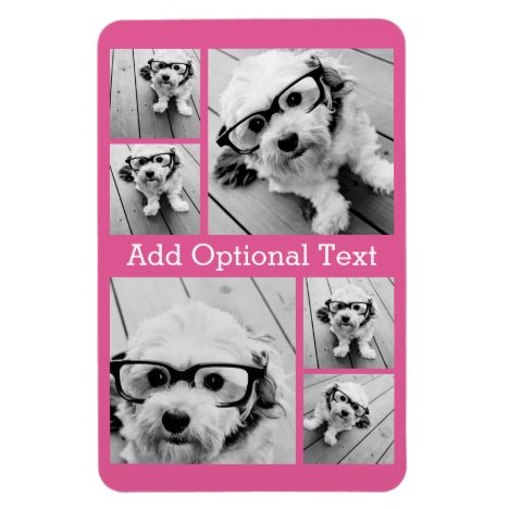 6 Photo Collage Optional Text -- CAN Edit Color Magnet