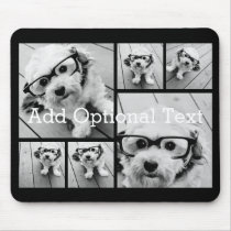 6 Photo Collage Optional Text -- CAN Edit Color Mouse Pad