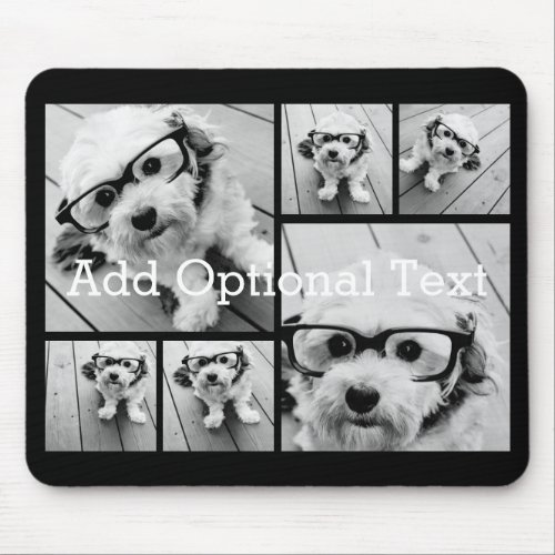 6 Photo Collage Optional Text __ CAN Edit Color Mouse Pad