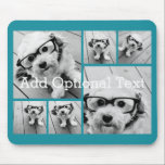 """6 Photo Collage Optional Text -- CAN Edit Color Mouse Pad<br><div class=""""desc"""">Add your favorite pics to this fun template. You can use square photos or any photos for this grid.</div>"""