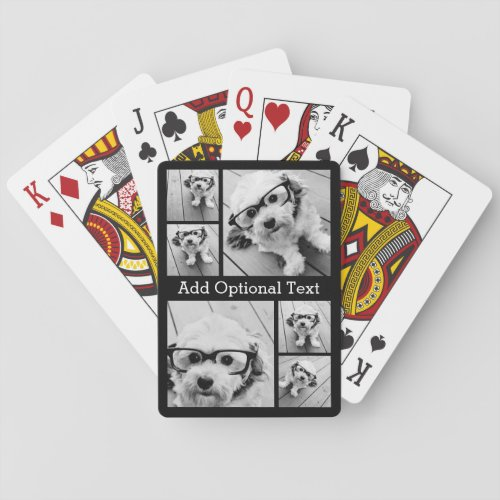 6 Photo Collage Optional Text __ CAN Edit Color Playing Cards