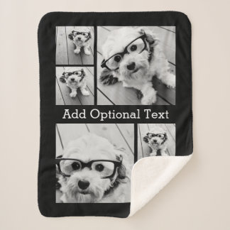6 Photo Collage Optional Text -- CAN Edit Color Sherpa Blanket