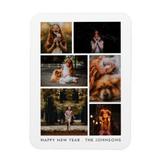 6 Photo Collage Personalized New Year Holiday Magnet