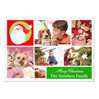 6 Photo Family Christmas Card with Santa