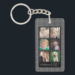 "6 Photo Frames Black with White Dots Personalized Keychain<br><div class=""desc"">This acrylic key chain offers six custom photo frames for you to add your favorite family photos. The background is black with a small white dot pattern. Custom text,  near the bottom,  allows you to add your name.</div>"