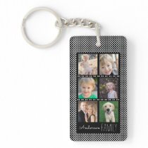 6 Photo Frames Black with White Dots Personalized Keychain