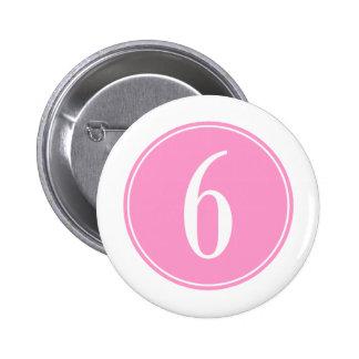 #6 Pink Circle 2 Inch Round Button