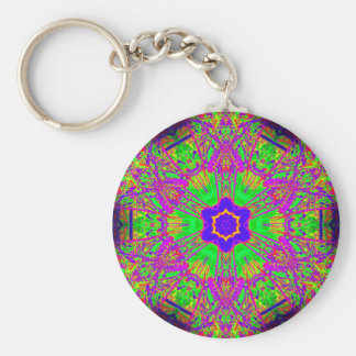 6-point blue star groovy psychedelic basic round button keychain
