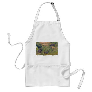 6 Point Bull Elk and Two Cows Wildlife Photo Adult Apron