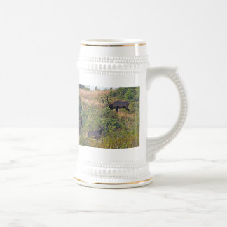 6 Point Bull Elk and Two Cows Wildlife Photo Beer Stein