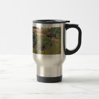 6 Point Bull Elk and Two Cows Wildlife Photo Travel Mug