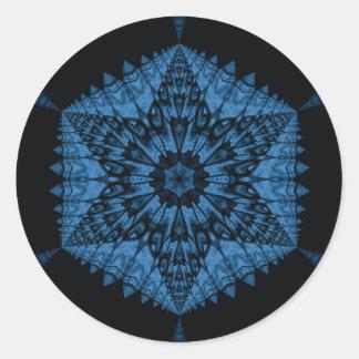 6 point star blue fantasy classic round sticker