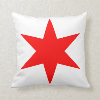 6-Pointed Chicago Flag Red Star Throw Pillow