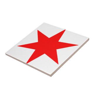 6-Pointed Chicago Flag Red Star Tile