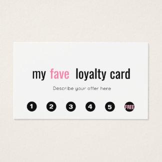 6 Punch Pink Beauty Salon Customer Loyalty Card