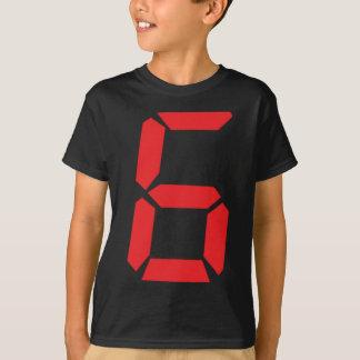 6 seis números digitales del despertador del rojo playera