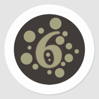 6-Six Classic Round Sticker
