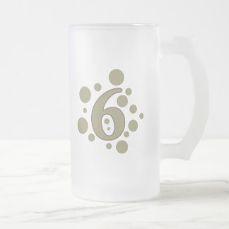 6-Six Frosted Glass Beer Mug