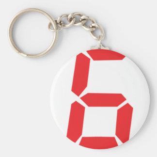 6 six red alarm clock digital number basic round button keychain
