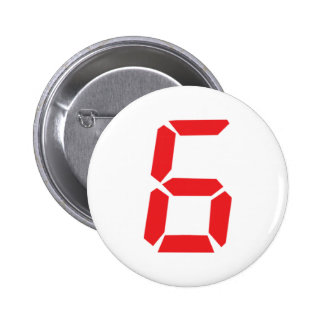 6 six red alarm clock digital number pinback button